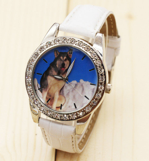 Lovers Quartz Leather Dog Wrist Watch