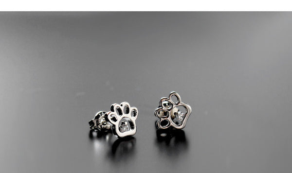 Cute Silver Paw Earrings!