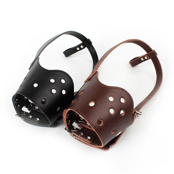 Dog Muzzle - Leather Snout Anti Bite Muzzle