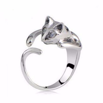 Gorgeous Surprised Kitty Wrap Around Cat Ring!