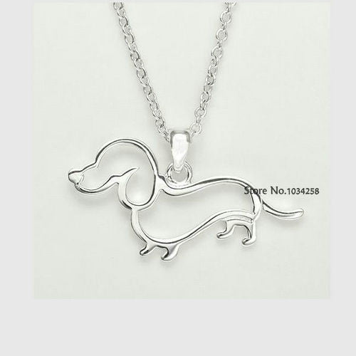 Gorgeous Silver Dachshund Puppy Necklace