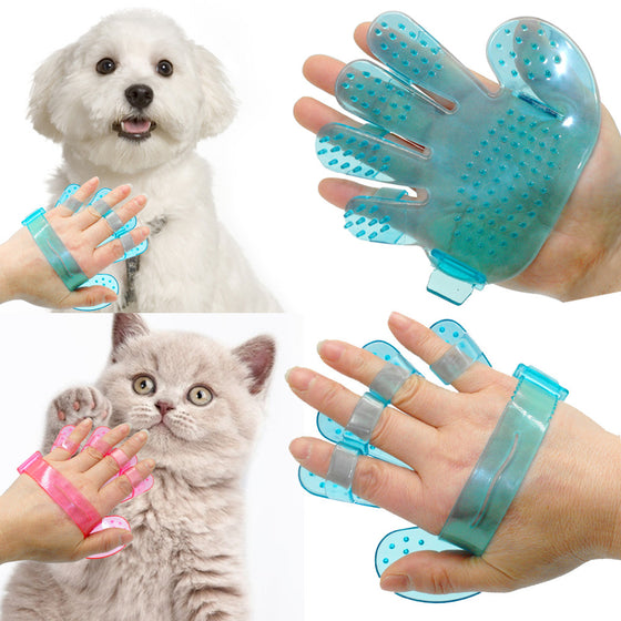2 Piece Pet Grooming Glove Cats Massage Hand Shaped Glove