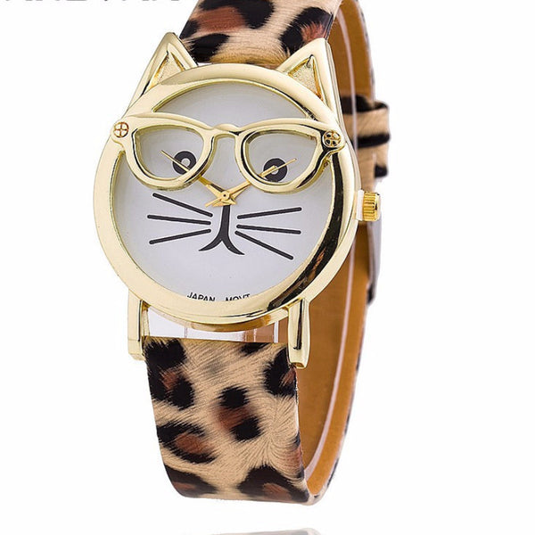 Funny Cat Wearing Glasses Quartz Cat Wrist Watch!