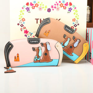 Cartoon Puppy Leather Dog Print Wallet