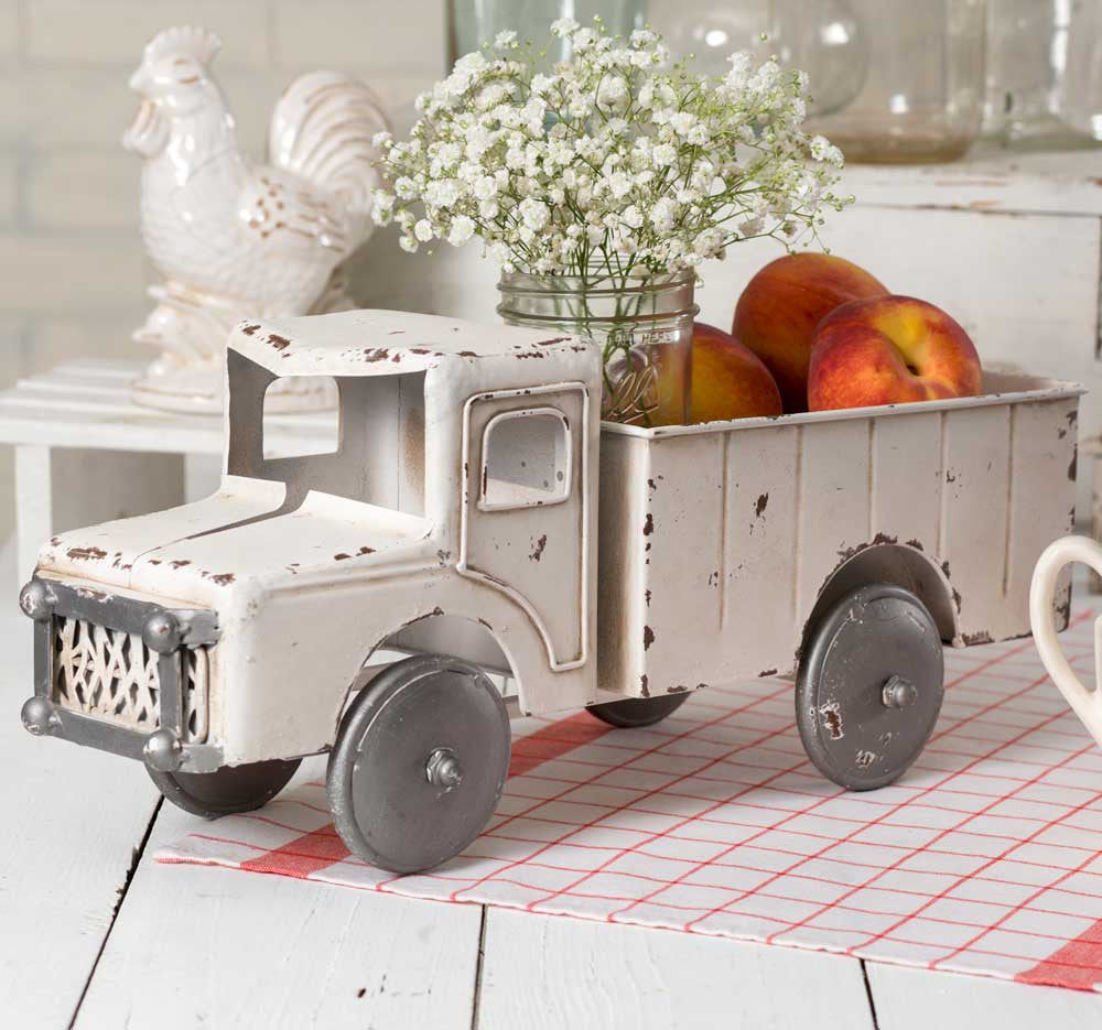 Vintage inspired white truck farmhouse fresh home for Vintage home interior products