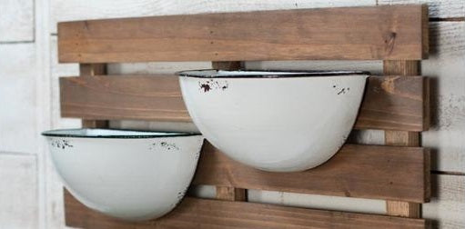 Enamel 2 Pot Wall Planter