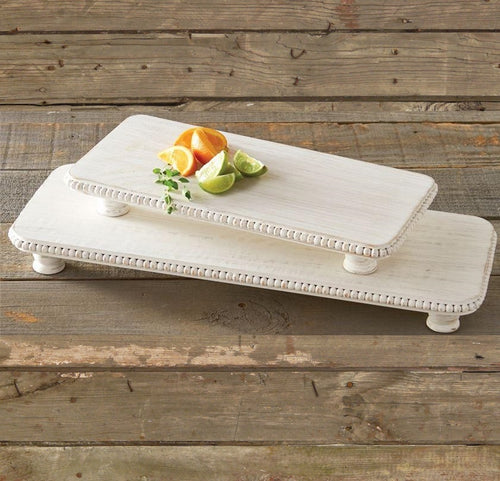 White Wash Beaded Serving Boards, Set of 2
