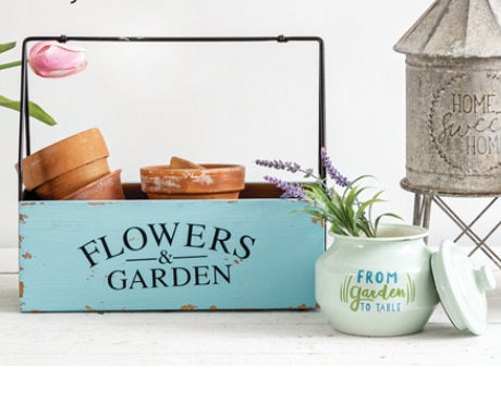 Wood and Metal Flowers & Garden Caddy