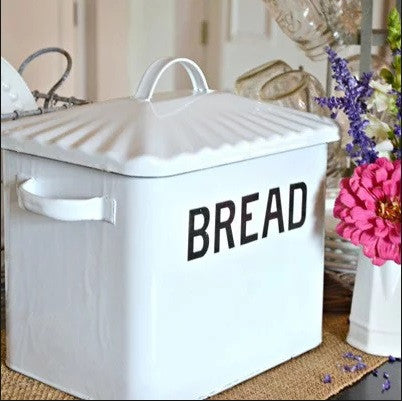 Enameled Metal Quot Bread Quot Box In Distressed White Farmhouse