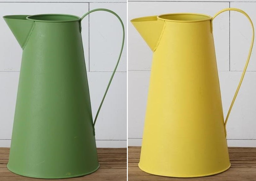 Green & Yellow Metal Pitchers, Set of 2