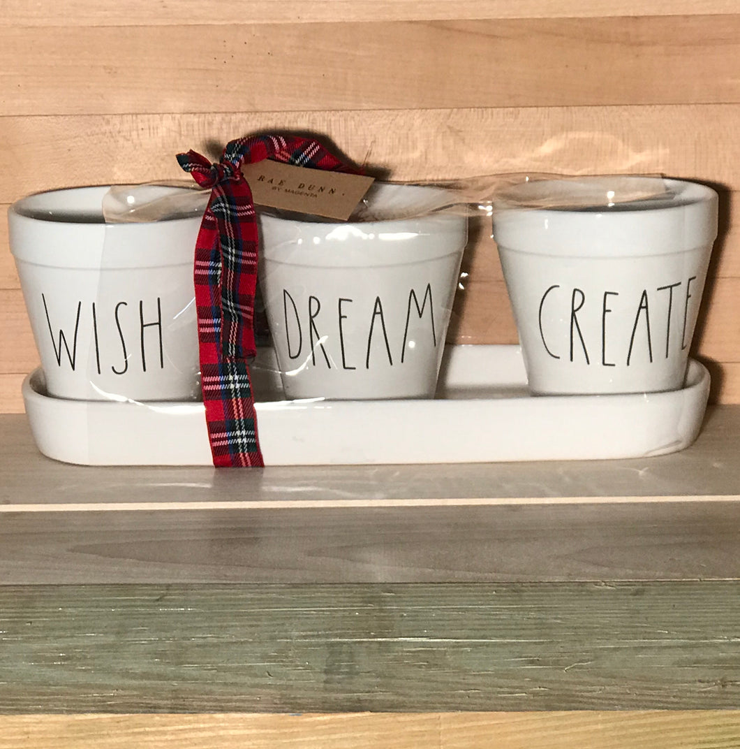 New Rae Dunn WISH DREAM CREATE Planter Set