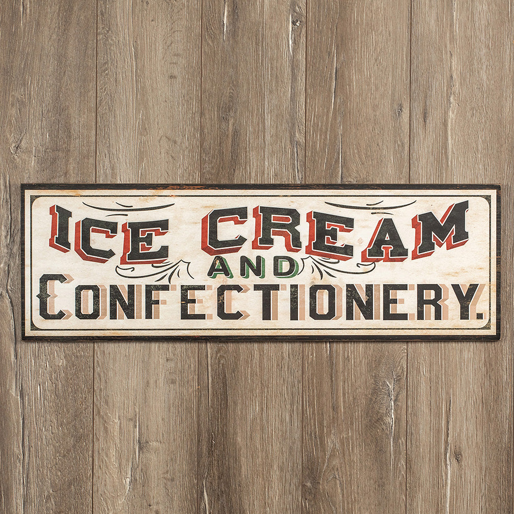 Wood Ice Cream and Confectionery Sign