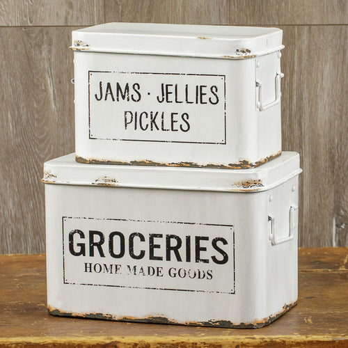Large Enamel Grocery Boxes, Set of 2