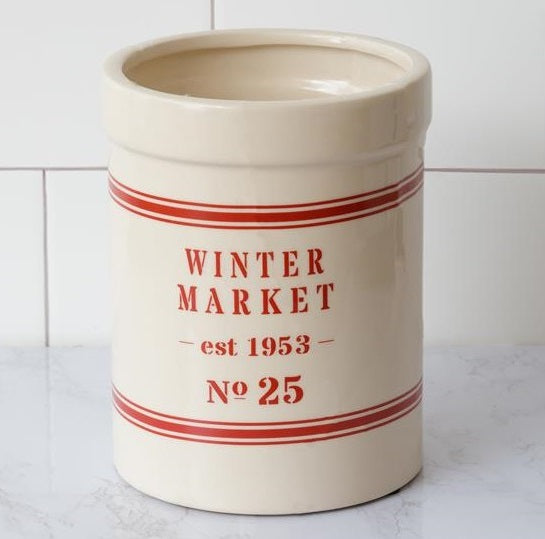 Winter Market Ceramic Crock