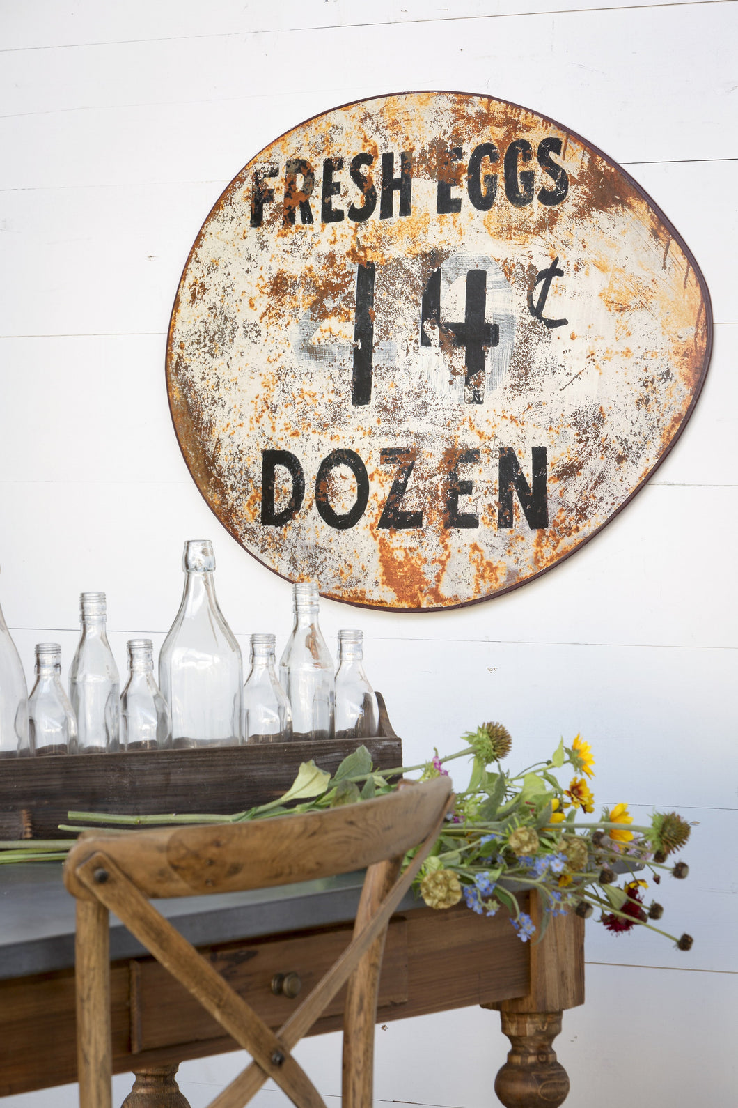 Vintage Metal Fresh Eggs Sign