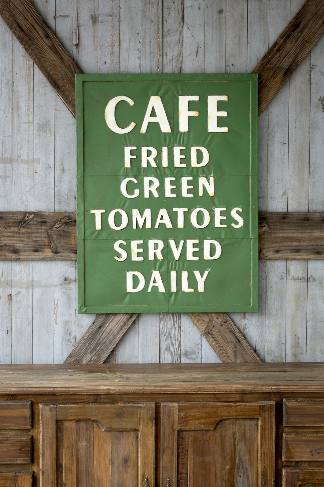 Vintage Embossed Metal Quot Fried Green Tomatoes Quot Sign Farmhouse Fresh Home