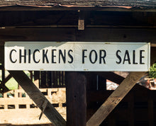 "Vintage Embossed Metal ""CHICKENS FOR SALE "" Sign"