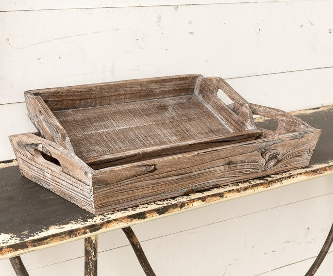 Reclaimed Wooden Serving Trays (Set Of 2)