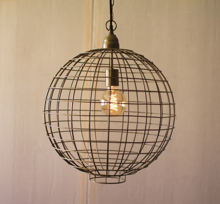 antique brass wire globe pendant light farmhouse fresh home. Black Bedroom Furniture Sets. Home Design Ideas