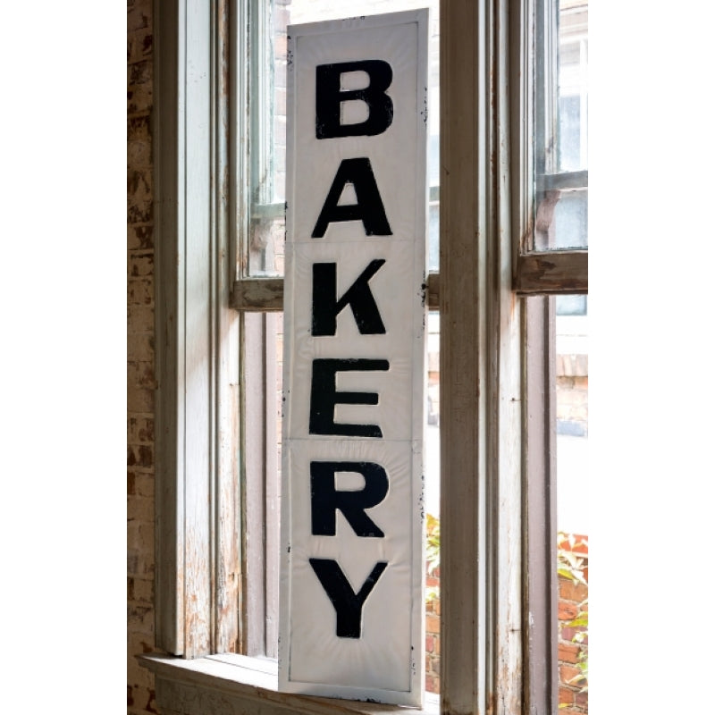 Antique Cream Wood Metal Wall Decor: Vintage Embossed Metal BAKERY Sign, Large
