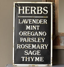 Vintage Embossed Metal HERBS Sign