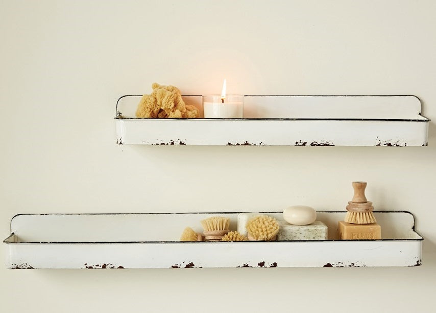 White Distressed Enamel Wall Shelves, Set of 2