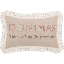 Vintage Style Christmas Trimmings Pillow with Ruffles