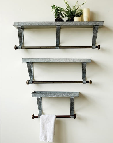 Galvanized Metal Shelves with Rods, Set of 3