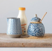 Vintage French Blue Stoneware Sugar Pot and Creamer Set