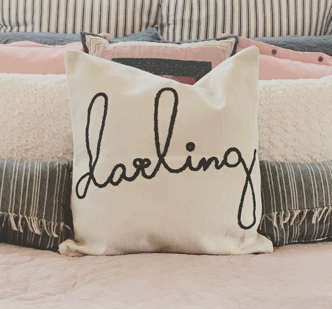Huge Embroidered Quot Darling Quot Pillow Farmhouse Fresh Home