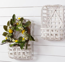 LARGE White Tobacco Wall Pocket Baskets, Set of 2