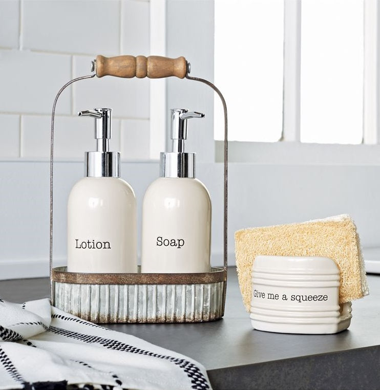 Lotion And Soap Pump Caddy Set Farmhouse Fresh Home 174