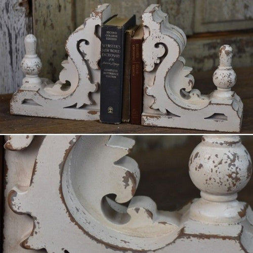 Antique Inspired Cornice Bookends, Set of 2