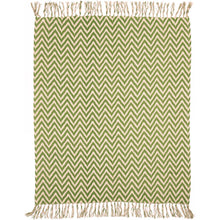 Green Chevron Woven Throw Blanket