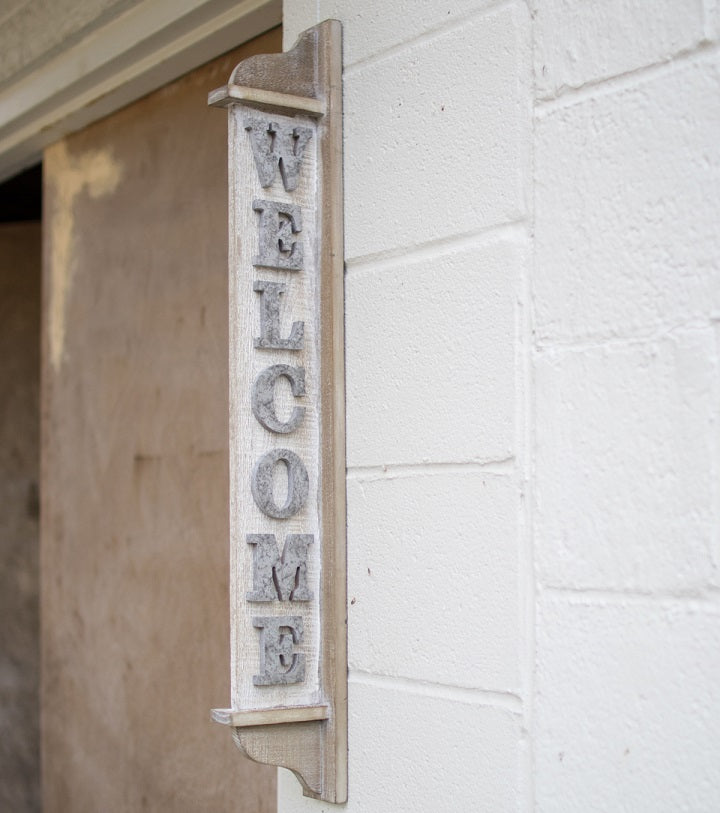 Vertical Double-Sided Wood Welcome Sign