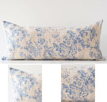 French Country Cotton Chambray Toile Blue and Cream Long Pillow