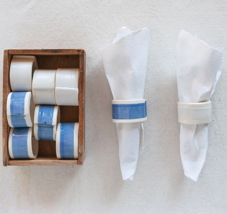 Hand Painted Stoneware Napkin Rings, Set of 6