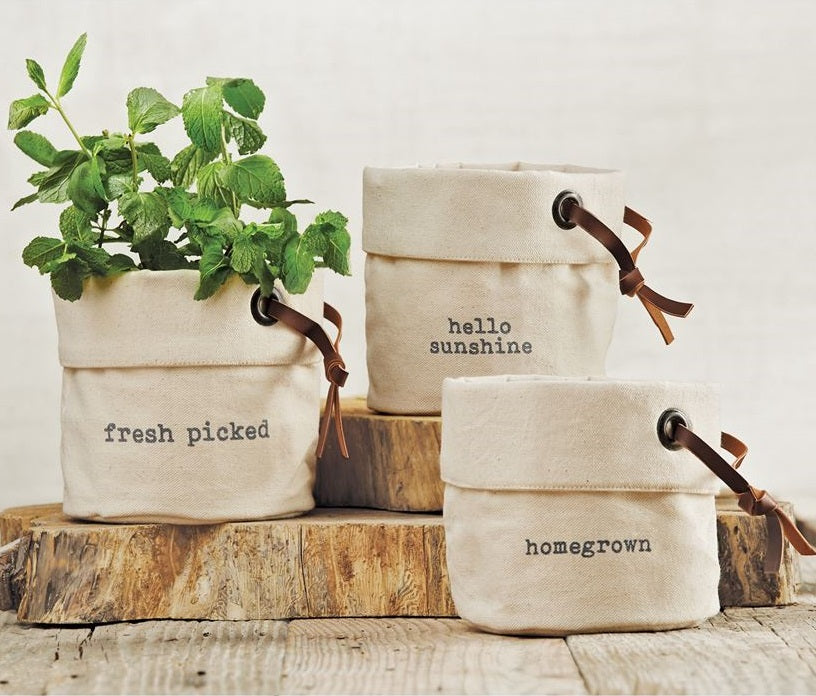 Canvas Planter Baskets, Set of 3