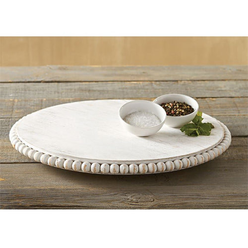 LARGE White-Washed Beaded Lazy Susan