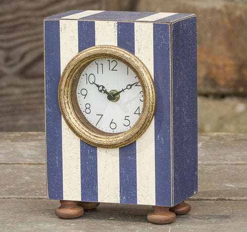 Blue and White Striped Table Clock