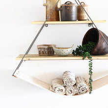 Triangle Metal and Recycled Wood Shelves with Canvas Sling