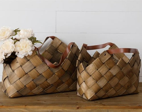 Chipwood Baskets with Leather Handles, Set of 2