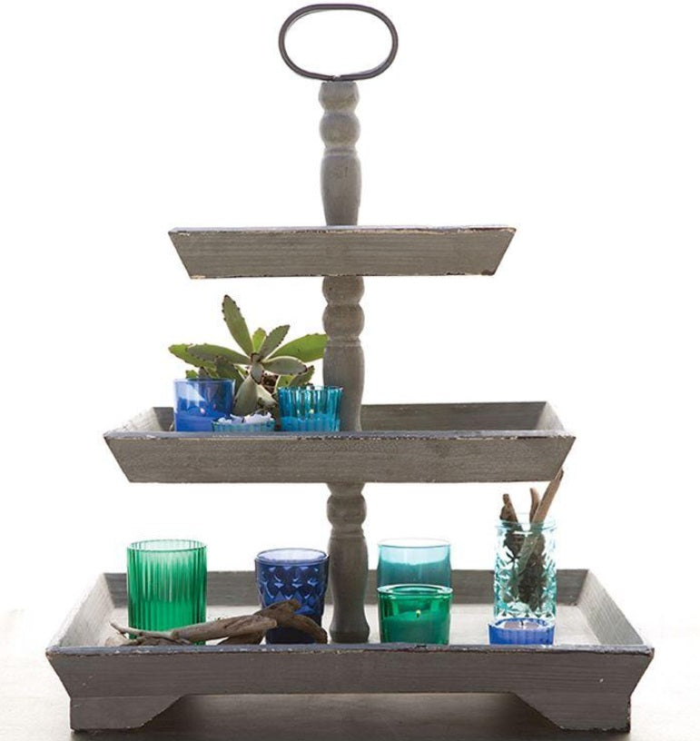 Decorative Wood 3-Tier Tray, Grey