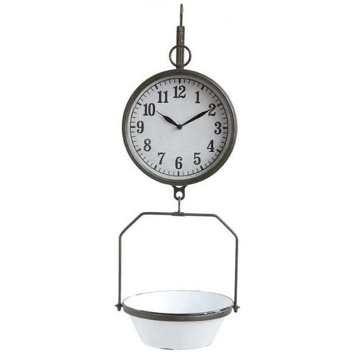 Vintage Reproduction Enamel Hanging Scale Clock
