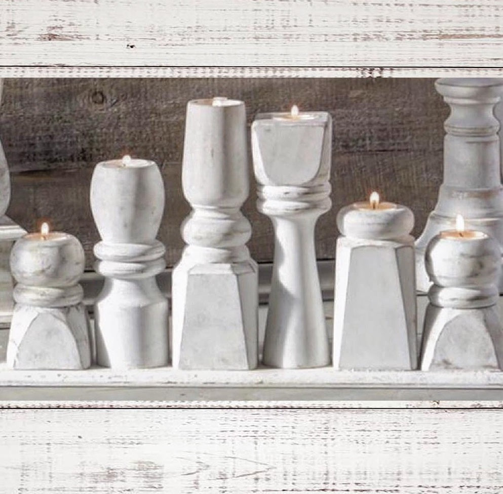 White Washed Candlestick Display