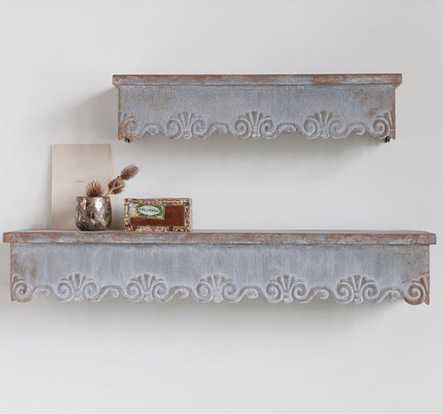 Shabby Chic Scalloped Edge Metal Wall Shelves, Set of 2