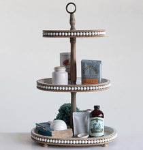 LARGE Oval Wood 3-Tier Tray with Beaded Detailing