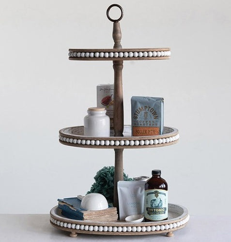 Decorative Oval Wood 3-Tier Tray with Beaded Detailing