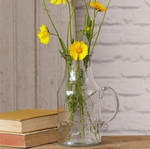Clear Glass Embossed Farmhouse Milk Pitcher