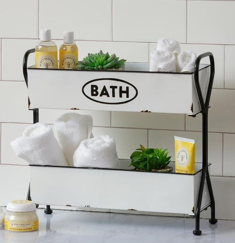 LARGE Enamel 2 Tray Bath Organizer